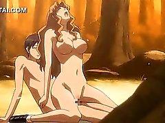 De Hentai A menina transando disco de seu amante na floresta
