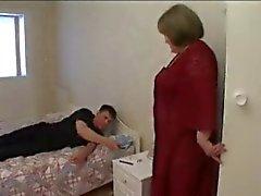 Kåt Storväxt Granny behov Cock