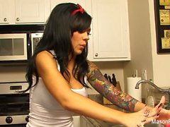 Busty Mason Moore rides a big toy in the kitchen
