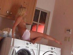 Jana Jordan having fun in laundry