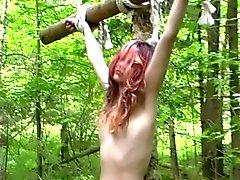 Lady und Sklaven im Walde