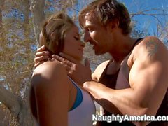 Country girl Madelyn Marie sucks cocks outdoors
