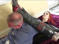 Shay in black spandex destroys a guy