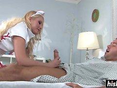 Blonde nurse cures her patient with sex
