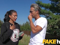 Public Agent Facial for cheating American babe