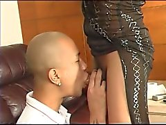 Asian dude fondles transsexual
