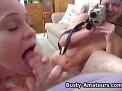 Busty amateur Sunny and Holly sucking white cock