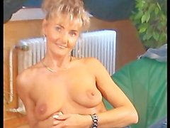 Skinny mom gets cum all over her tits