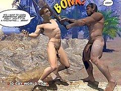 Мела КРАН ДЛЯ 3D гомосексуалистам Комикс Рассказ об Пещерный человек