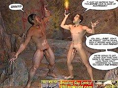 CRETACEO GALLO in 3D Gay comico Storia di del Caveman