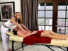 Amazing pornstars on special massage bed