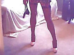 Homemade crossdresser with slim legs