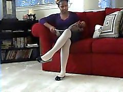 Ebony branco pantyhose dangle