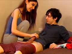 Hot 18 year old teen jerks off and rides roommate