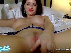 Emily Addison big tits redhead masturbating till pussy fully wet.