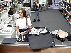 Pretty latina stewardess pawns her pussy at the pawnshop