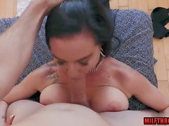 brunette milf face fuck and facial video