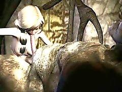 Di Foxy fumetto 3D biondi succhiamento sul cazzo di duro del uno troll