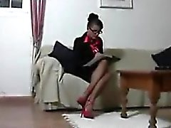 Nerdy MILF Wearing Stockings Masturbates