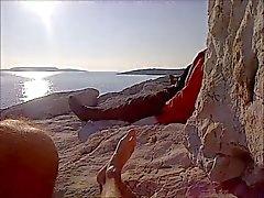 Wanking публично ( limanakia нудистский плюж )