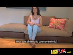 FakeAgentUK Pretty girl takes a massive facial on casting couch