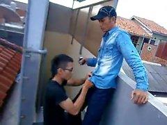 Indonesiska Boys on the rooftop