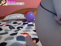 Hot lesbian couple play with strapon