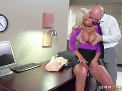 Busty latina mom Bridgette B gives it to her boss