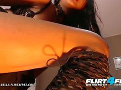 Flirt4Free - Ivanna Bella - Bisexual Brunette Babe Plays with Both Holes