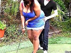 Ébano Gordas hace follar por entrenador de golf