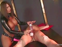 Mistress makes gimp slave suck her cum soaked strapon after wanking and cock pumping