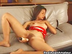 Beautiful asian dildoing while jerking part1