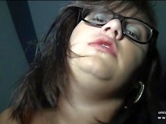 Pretty amateur french BBW banged n jizzed in threeway in POV
