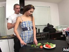 Lisa gets pounded in the kitchen