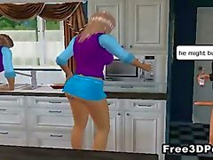 Sexiga 3D cartoon babes getting fucked runt huset