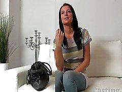 Castingxxx Beautiful brunette talked into sex