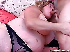 Beautiful big belly and boobs mature BBW
