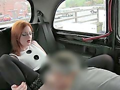 Busty redhead chick banged with driver for a free taxi fare