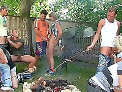 Gay Outdoor Gangbang