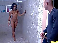 Young black chick Tia Freaxxx takes white dick in the shower