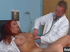 Redhead chick makes a cock disappear
