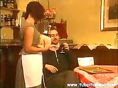 Italian movie with this waitress giving some extra care and getting ass banged