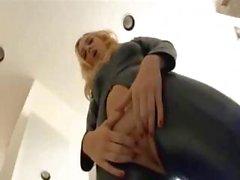 Blonde In Leer Outfit Gets DPed