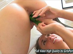 Mary and Scarlet Porn Stuffing four cucumbers inside her