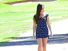 Jenna babe park brunette chatte poitrine brune