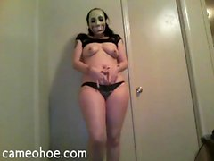 Goth chick punishes herself and fills all hole
