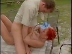 Beautiful German bitch fucked in the garden