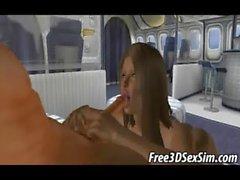 Listig 3D brunette Babe Anfang im Flugzeug gefickt