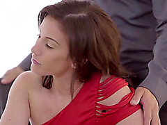 Brunette Hair Coed Jennifer White Sucks Her Mans Knob Until Hes