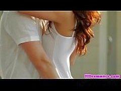 Romantique, couple, closeup, crémeux, climax